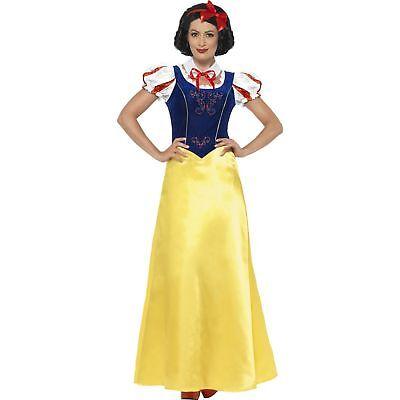Snow White Long Fairytale Princess Storybook Womens Ladies Fancy Dress Costume