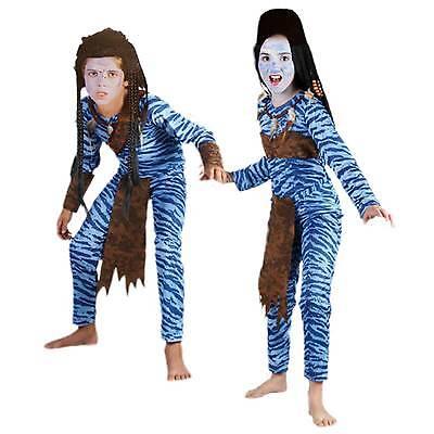 Avatar Jungen Mädchen Kostüm Gr.110 - 140 Jungle 4 - 12 Jahre Krieger Dschungel