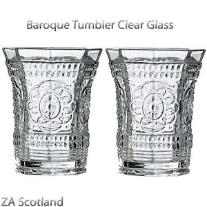 Amazing new style set of 2 baroque tumbler clear glass for Clear baroque glass
