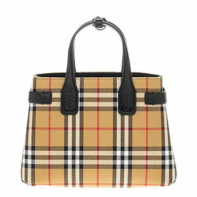 Burberry Women's Small Banner in Vintage Check and Leather Brown