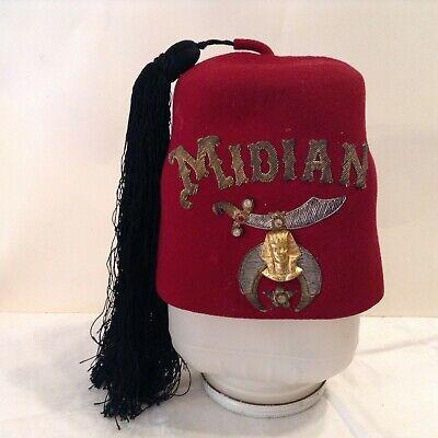 Vintage Masonic Midian Shriner Fez Hat Jeweled Embroidery Wool Felt