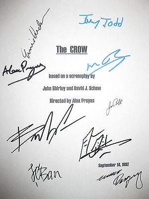 The Crow Signed Movie Script X9 Brandon Lee Bai Ling Ernie Hudson Wincott reprnt