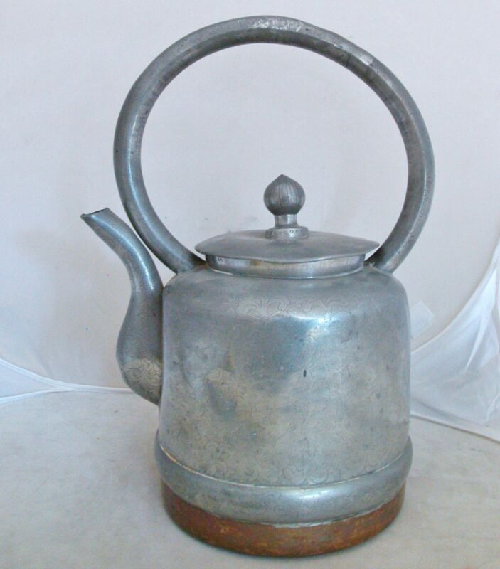 """Large Signed Antique Chinese Pewter & Copper Teapot with Flowers  (12.65"""" tall)"""