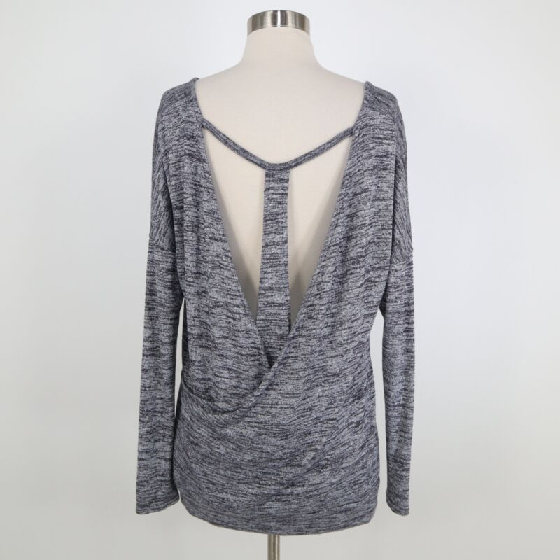 Athleta Pose Pullover Top M Medium Open Back Gray Marled Lux Cut Out T-Back