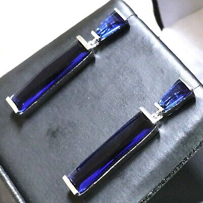Gorgeous Blue Sapphire Earrings Engagement Jewelry 14K White Gold Plated Gift