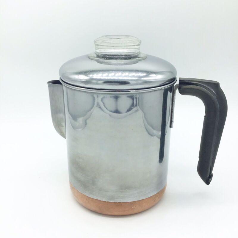 Vintage Revere Ware 1801 Percolator Copper Clad Bottom Coffee Pot 8-Cup Complete