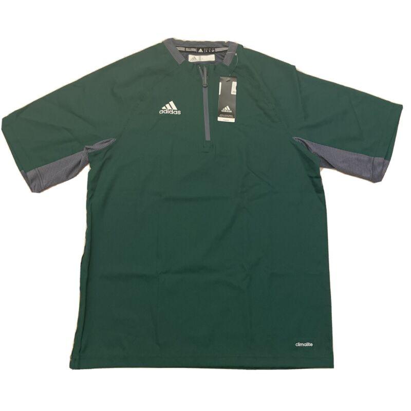Adidas Mens Climalite Fielders Choice SS 1/4 Zip Batting Jacket Green Gray Small