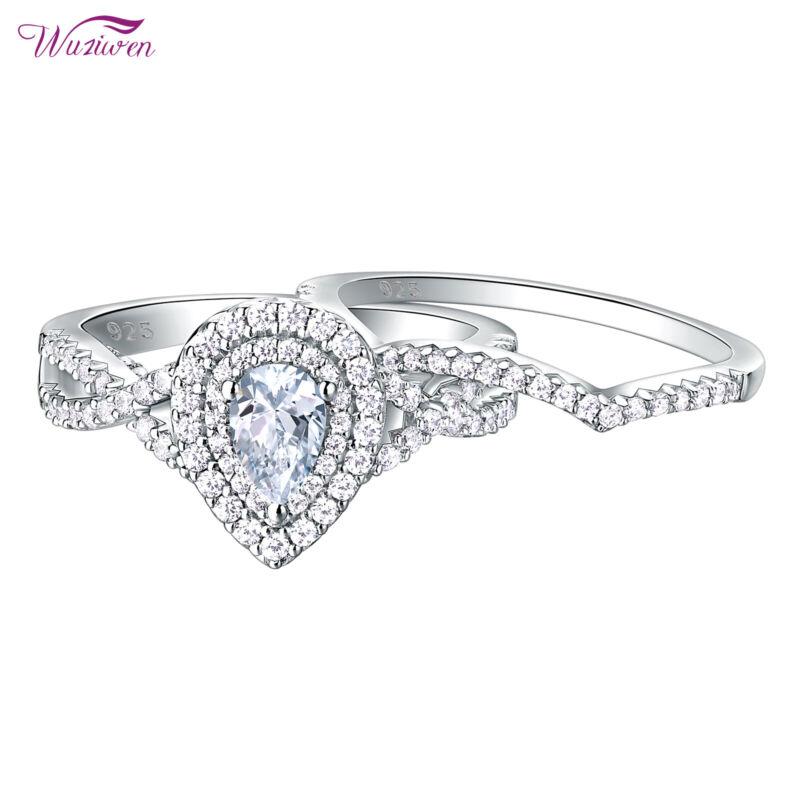 Wuziwen Wedding Engagement Ring Set Women 1.3ct Pear Aaaa Cz 925 Sterling Silver
