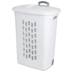 Sterilite 12228003 Wheeled Laundry Hamper Portable Lift Top Clothes Basket