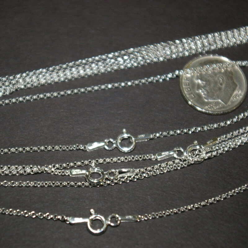 """5 pcs Sterling Silver 925 1.3mm Round ROLO / BELCHER Chain NECKLACES 16.5"""" 42cm"""