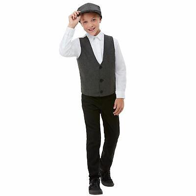 Kinder 1920er Gangster Kostüm Set Schiebermütze Weste Jungen Büchertag ()