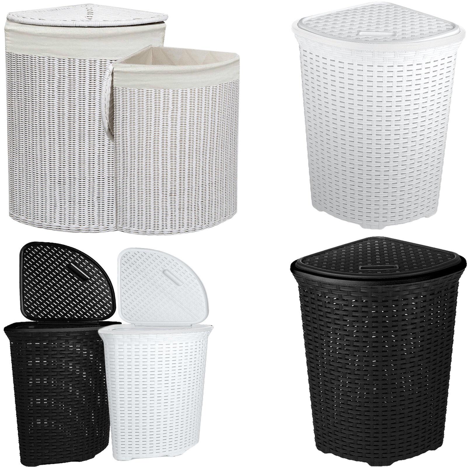 Corner Rattan Wicker Laundry Basket