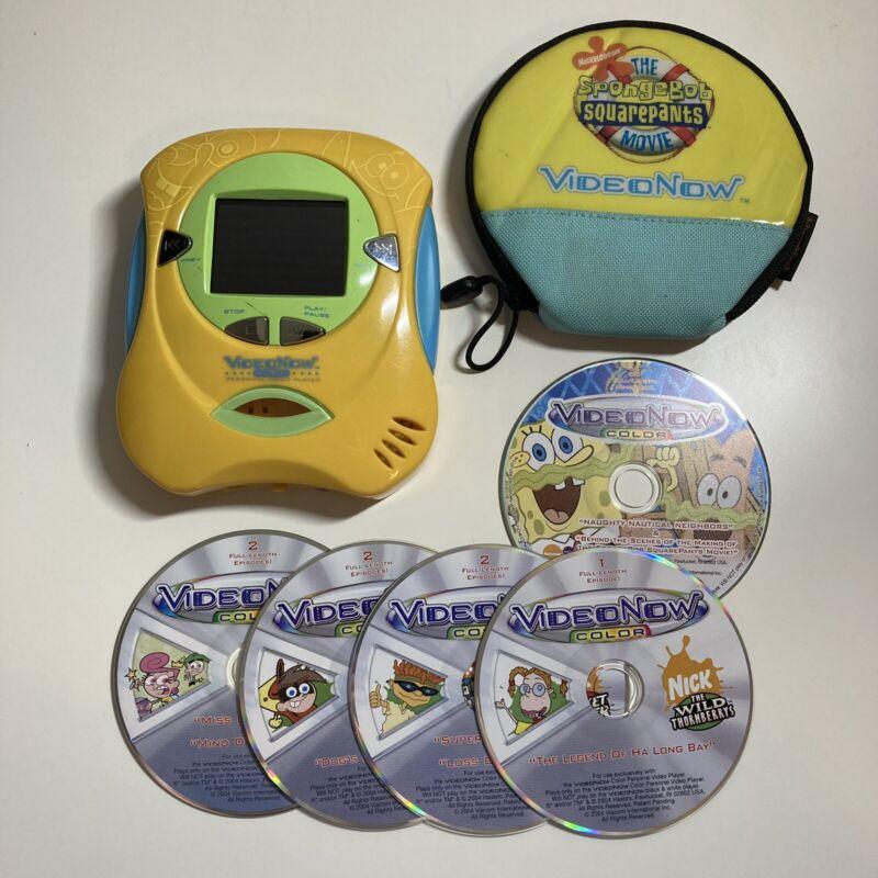 Hasbro Spongebob Video Now Color Personal Video Player + Case Holder + 5 Discs