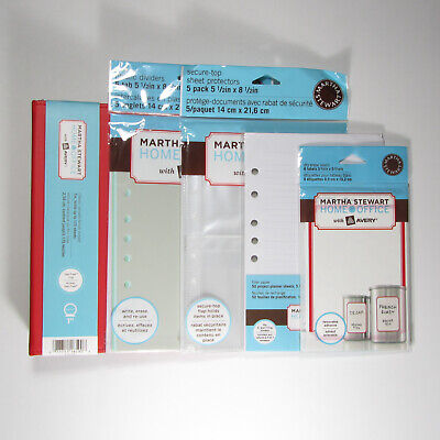Lot Of 5 Martha Stewart Home Office 1 In Binder Dividers Paper Protectors Labels