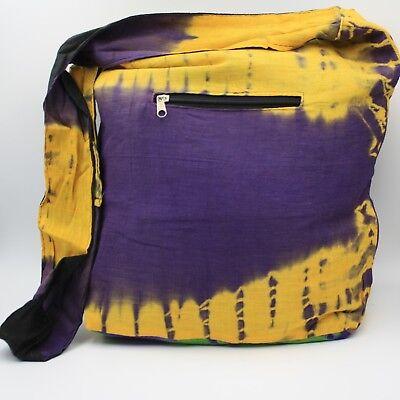 Bolso Batik Bolsa Bolso de Hombro Goa Hippietie Teñir Amarillo Púrpura 3