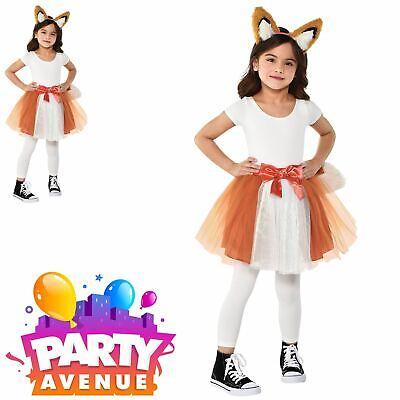 Girls Fox Tutu & Headband Fancy Dress Up Accessory Costume ()