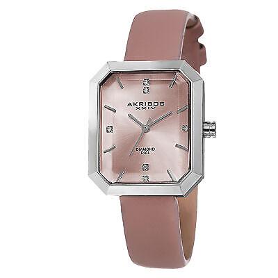 Women's Akribos XXIV AK749PK Swiss Quartz Diamond Dial Pink Leather Strap Watch