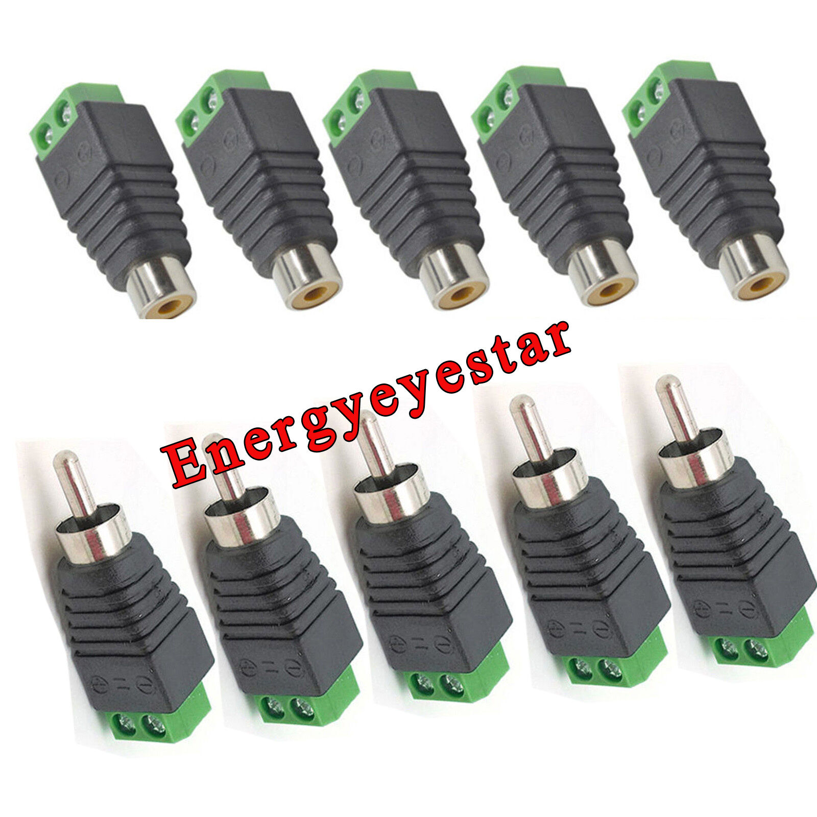 5pc Male +5pc Female Speaker Wire Cable to RCA Connector Adapter ...