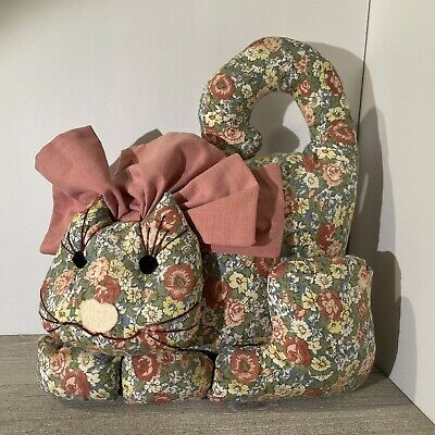 Vintage Cat Door Stop Multicolored Plush Tapestry with Dusty-Pink Bow Farmhouse