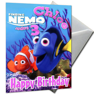 FINDING NEMO - PERSONALISED  Birthday Card Large A5 + Envelope
