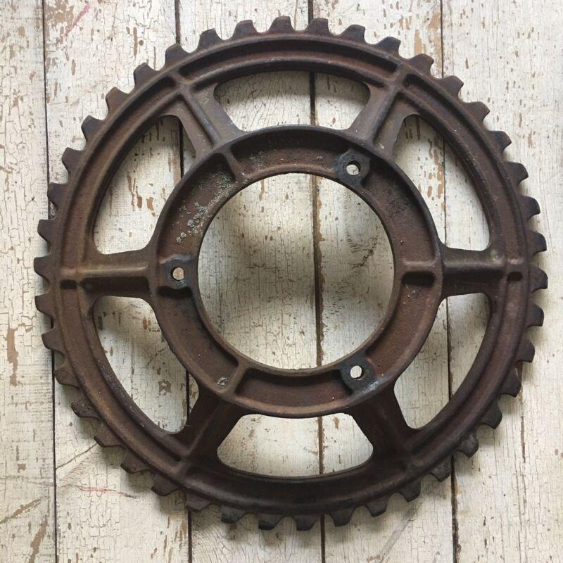 "Large original steampunk cast iron gear sprocket lamp base  Project 20 1/2"""