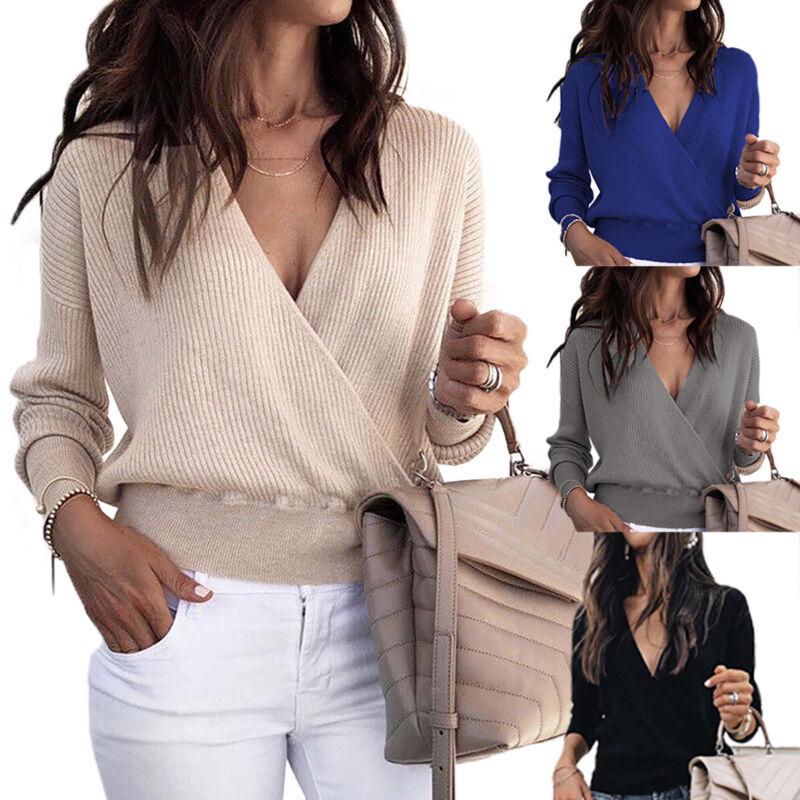 Damen V-Ausschnitt Kurz Pullover Sweatshirt Strick Pulli Langarm Bluse Jumper