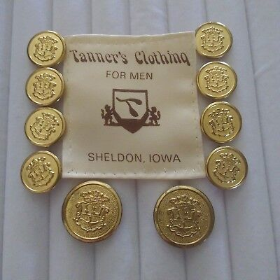 Tanners Clothing Gold Blazer Buttons Suit Sport Coat Jacket Crown Shield