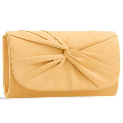 Plissee Damen Tasche (Gelb Plissee Wildleder Hochzeit Damen Party Abend Clutch Handtasche)