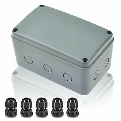 Outdoor Junction Box Plastic Electrical Project Enclosure Case W 5 Cable Glands