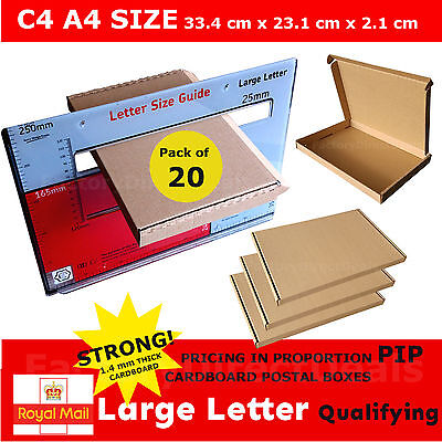 20 x  PIP POSTAL BOXES SIZE C4 A4 ROYAL MAIL LARGE LETTER STRONG CARDBOARD BOX