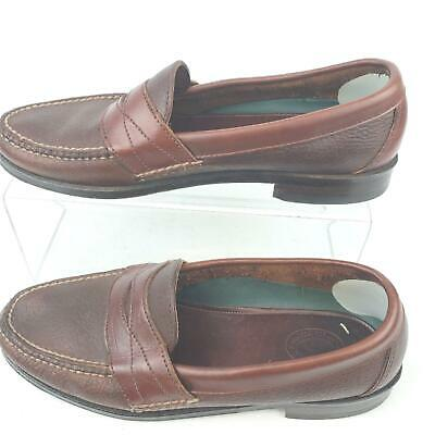 H.S. Trask Brown Penny Loafer Hand Sewn Mens Size -