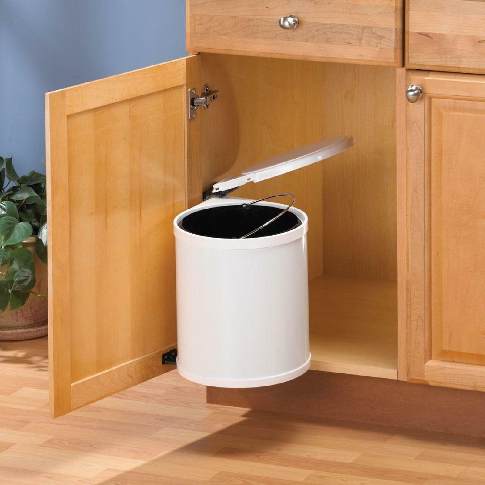 Pivot Out Trash Can White Kitchen