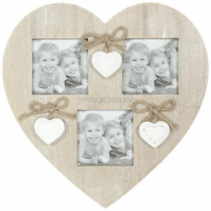 Wall Mounted Rustic Wooden Hanging Heart Shaped Multi Photo Picture Frame Chic