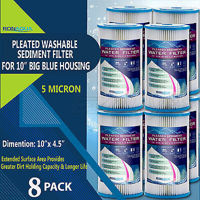 "8 Big Blue Pleated Washable (5 Micron) Sediment Filters 4.5"" x 10"""