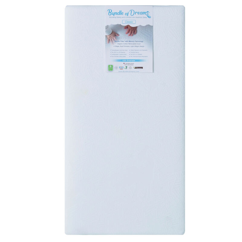 """Bundle of Dreams Classic 6"""" Hypoallergenic 2-Stage Baby Crib Mattress with Cover"""