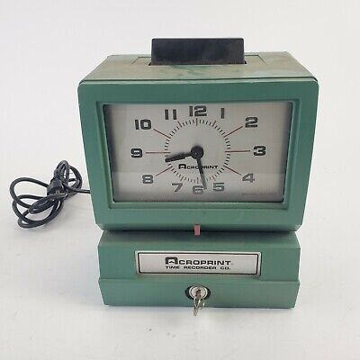 Acroprint Time Clock Model 125nr4 With Key - Punch Card Recorder Green Usa