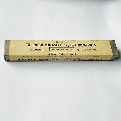 Kingsley Machine Type - 3 Point Numerals - Tx-1903n - Hot Foil Stamping- New
