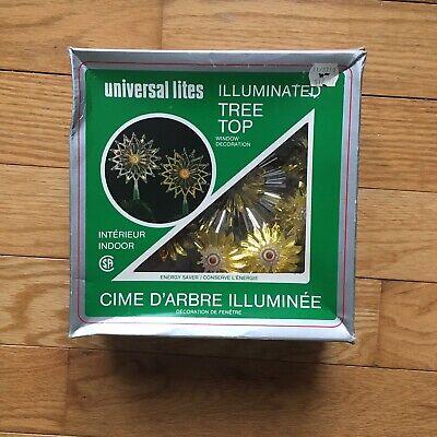 Vtg Universal Lites Illuminated Christmas Tree Topper Star Foil Indoor Light