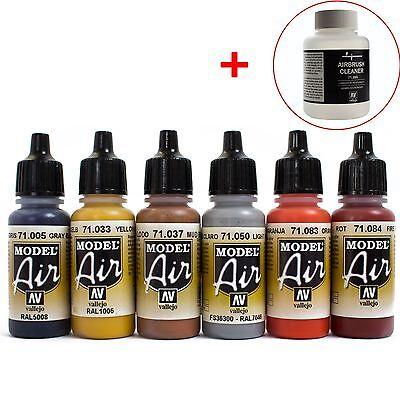 Vallejo Airbrush Farben Set 6x 17ml *Bunt + 85ml Cleaner Airbrushfarben