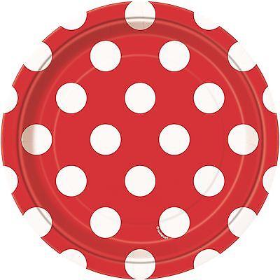Ruby Red & White Polka Dot   Dots 17cm Dessert Cake Party Paper Plates 1-48pk - Red White Polka Dot Party Supplies