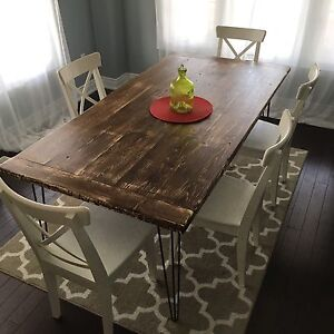 Rustic hairpin leg harvest table
