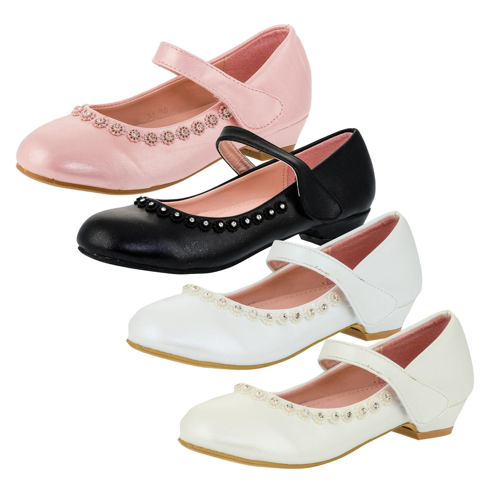 Details zu Festliche Mädchen Pumps Schuhe Ballerinas Lackoptik Strass Blumen Hochzeit Feier