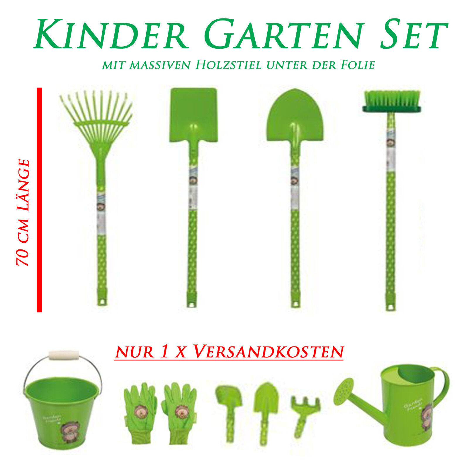 Kinder Garten Set Spaten Schaufel Rechen Gießkanne Eimer Handschuhe Holz Metall