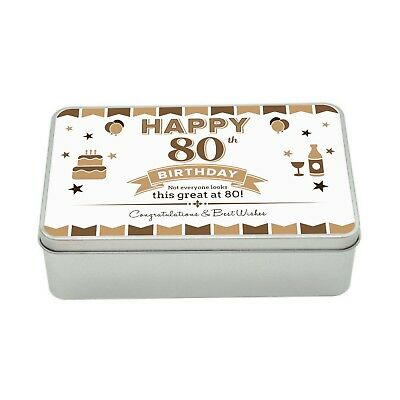 80th Birthday Keepsake Novelty Funny Tin Gift Box Present Idea For Men Him Male ()