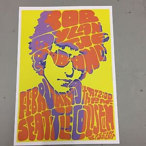BOB DYLAN - CONCERT POSTER SEATTLE COLISEUM 19th FEBRUARY ...