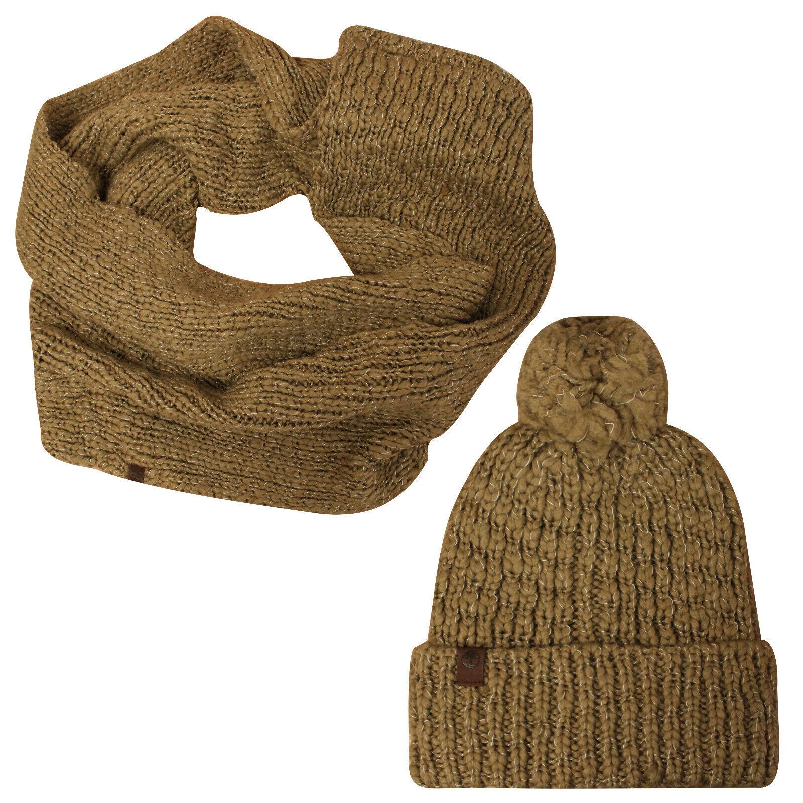 Dettagli su Timberland Donna Melange Grosso Cavo Maglia Sciarpa Cappello Ponpon di A1E73 918