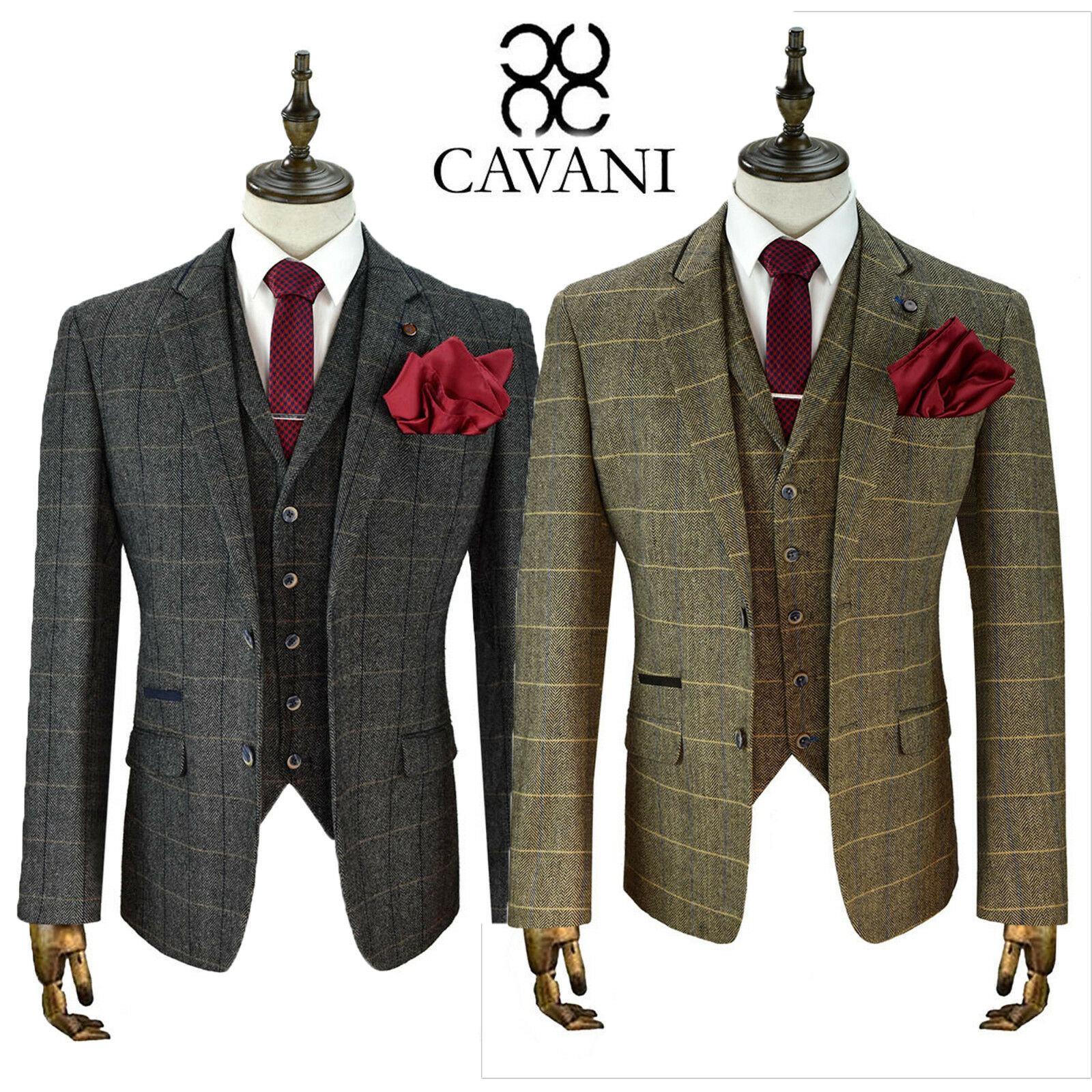 Mens Cavani Tweed Wool Blazer Waistcoat Trousers Sold Separately 3 Piece Suit