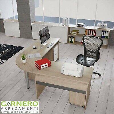 Arredo ufficio angolare completo mobile TIME 4 computer pc moderno rovere studio