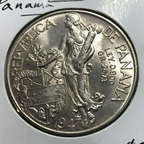 1947 PANAMA SILVER ONE BALBOA HIGH GRADE CROWN COIN