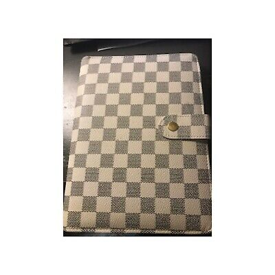 Black White Checkered Planner. A5 6-ring Binder. Pink Interior. Rose Gold